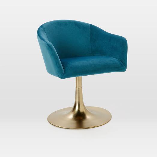 Bond Upholstered Swivel Chair - Luxe Velvet, Celestial Blue