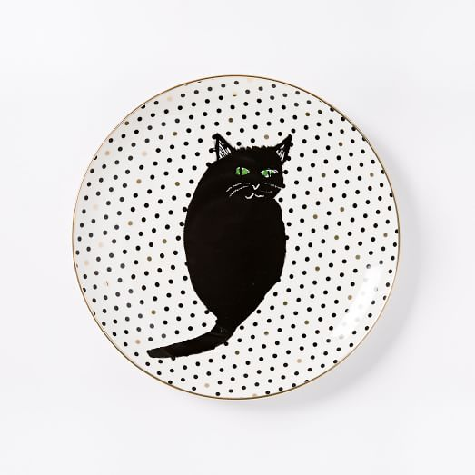 Collector's Edition Salad Plate, Black + Gold Cat