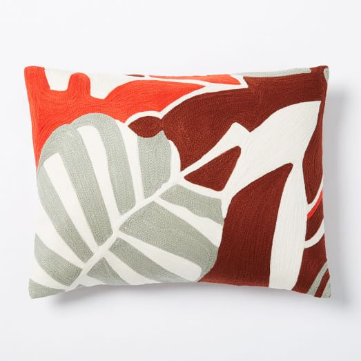 Crewel Abstract Leaf Pillow Cover, 12
