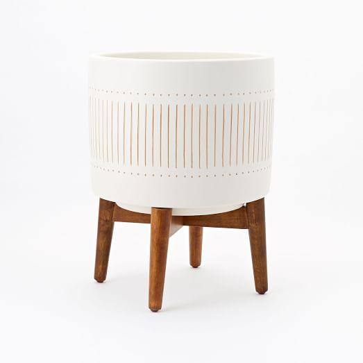 Mid Century Turned Wood Leg Planter, White + Gold, Wide