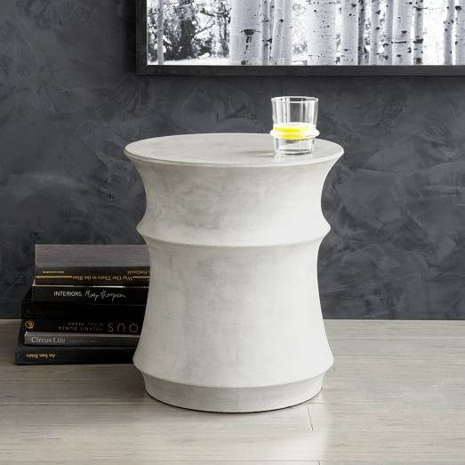 Sculpted Drum Side Table West Elm For Concrete Coffee