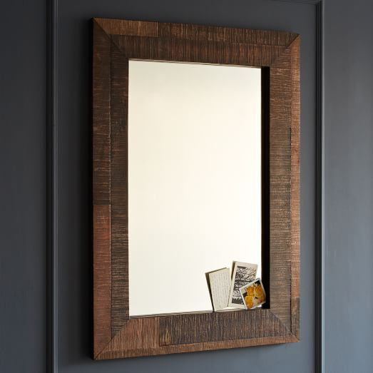 wood framed mirrors for bathrooms reclaimed wood wall mirror west elm 24720